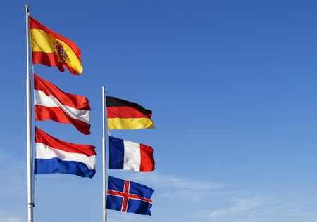 Flags of European nation on the blue sky