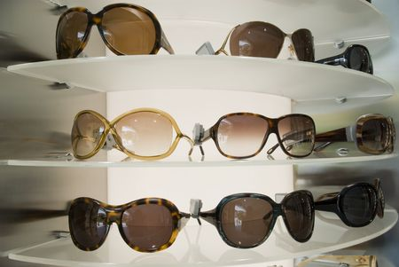 Sunglasses displayed in a shop