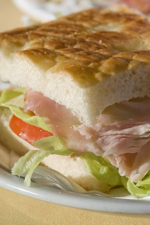 Close up ham and vegetable sandwich with lettuce Stock Photo - 2051128