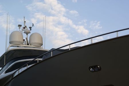 Big luxury yacht against a blue sky