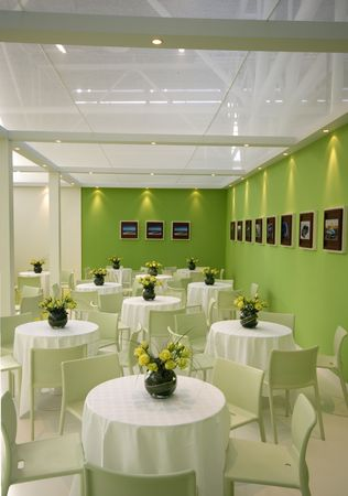 Green Interior in a cool restaurant