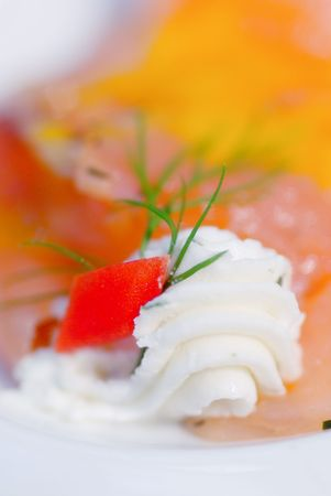 dinne: Buter and salmon is a per fect combination. Shallow depth of field