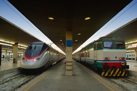advancement: Modern and old train one against the other in this photo that show the advancement of technology in transport industry