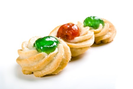 Traditional Italian pastry on a white background photo