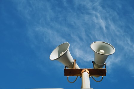Loudspeaker against the sky