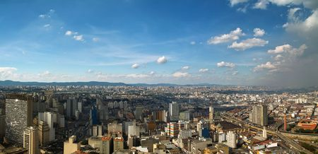View of San Paolo skyline from the banesco building, Brazil photo