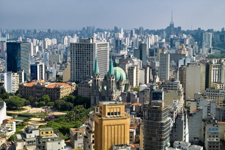 urbanization: View of San Paolo skyline from the banesco building, Brazil