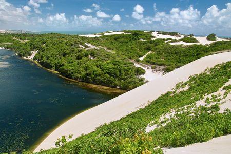 escaping: Lagoon Genipabu near Natal, North East of  Brazil Stock Photo