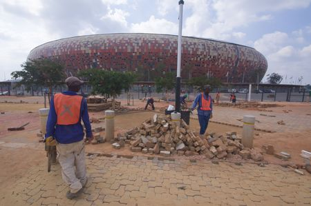 JOHANNESBURG South Africa. 28 MARCH: soccer city the stadium that will host the first and final match of world cup 2010 is just completed. Editorial
