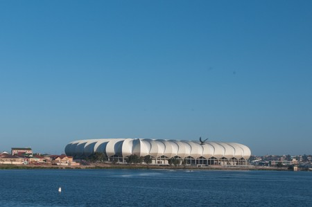 nelson mandela: PORT ELIZABETH - APRIL 20 2010:South Africa will host the next soccer world cup. The north end lake with the beautiful new Porth Elizabeth stadium dedicated to Nelson Mandela, in porth elizabeth , South
