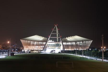 DURBAN - APRIL  5: the Moses Mabhida stadium of Durban photographed at night, april 5, 2010 Stock Photo - 7131477