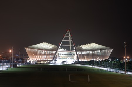DURBAN - APRIL  5: the Moses Mabhida stadium of Durban photographed at night, april 5, 2010 Editorial