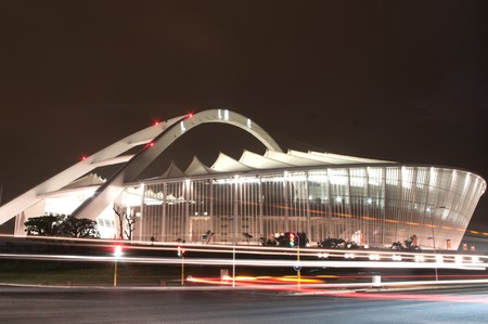 DURBAN - APRIL  5: the Moses Mabhida stadium of Durban photographed at night, april 5, 2010