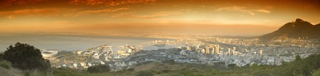 Aerial view of cape town and the bay from silent hill.