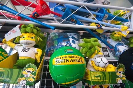 stadium  durban: DURBAN - MAY 04:  vuvuzela and other gadgets displayed in the official merchandising shop inside the stadium may 04 2010 in Durban, SouthAfrica