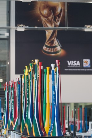 stadium  durban: DURBAN - MAY 04: Vuvuzela is the trumpet of south african soccer fans.  Some colored vuvuzuelas displayed at the durban new stadium, may 04 2010 in Durban, SouthAfrica