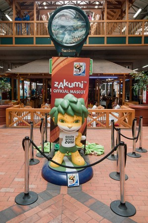 DURBAN - APRIL  5:  zakumi is the mascotte of the next soccer world cup, here a giant reproduction, april 5, 2010 Durban, South Africa