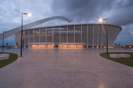 stadium  durban: DURBAN - APRIL  5: the Moses Mabhida stadium of Durban photographed at night, april 5, 2010 Editorial