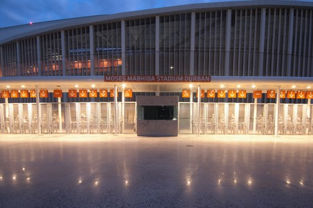 DURBAN - APRIL  5: the Moses Mabhida stadium of Durban photographed at night, april 5, 2010 Stock Photo - 7137857