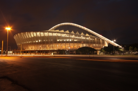 DURBAN - APRIL  5: the Moses Mabhida stadium of Durban photographed at night, april 5, 2010 Stock Photo - 7137859