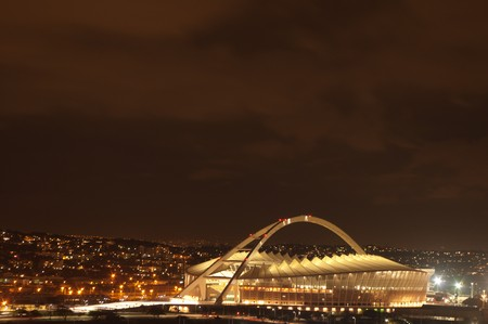 DURBAN - APRIL  5: the Moses Mabhida stadium at night ,april 5, 2010 Durban, South Africa