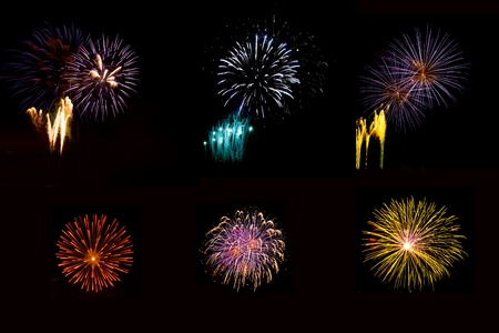 nighty: Large composite  of six different fireworks taken during an event in Italy, isolated on a black nighty background