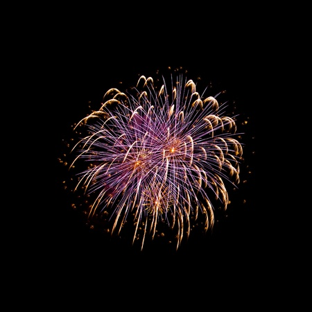 Single firework against a dark background, square format compostiion Stock Photo