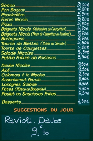 socca: Menu of a restaurant, Old Town of Nice, Cote dAzur, France Editorial