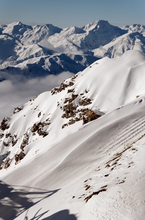 Panorama of the mountain rounding the courchevel Valley, Part of the national parc of la Vanoise, France photo