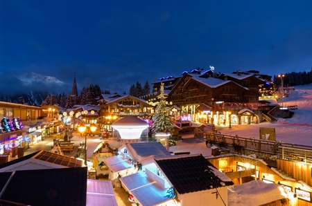 Evening View of Town   Le Croisette Area during winter season, Courchevel, France