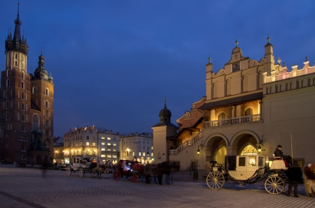 The Main Market Square in Cracow is the most important square of the Old Town in Cracow, Poland  In the background is St  Mary