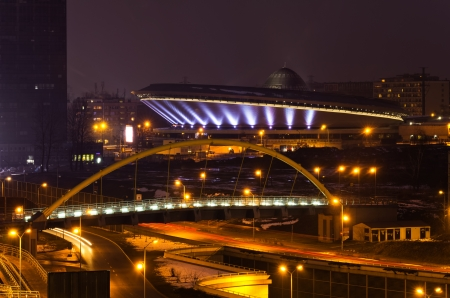 Cityscape of Katowice at nigh with the beautiful Spodek arena, Poland Editorial