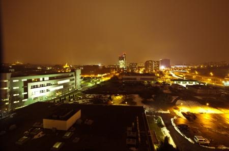 Cityscape of Katowice at nigh with the beautiful Spodek arena, Poland Stock Photo