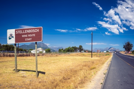 This sign marks the beginning of the new Stellenbosch American Express Wine Routes that  represent more than 200 wine and grape producers within the boundaries of the Stellenbosch Wine of Origin classification. The Wine Route is divided into five sub-rout