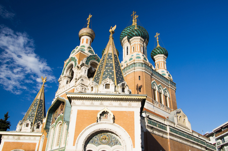 intricacy: Russian Orthodox Cathedral, Nice, Cote dAzur, Provence, France Stock Photo