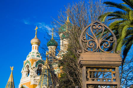 steps and staircases: Russian Orthodox Cathedral, Nice, Cote dAzur, Provence, France Stock Photo