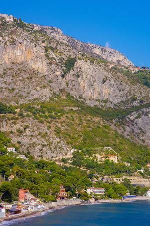 cote d'azure: Beach villa in Eze Bord de Mer, C�te dAzur, France, Mediterranean, Europe.the tiny locality in the cote dazure is famous to host the villa of U2 leader bono vox.
