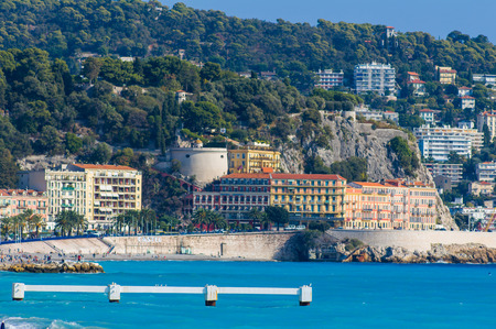 nice france: Summer holidays background with blue sky and sea ,Nice,france