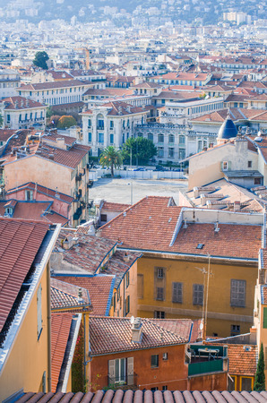maritimes: View of the old town from the castle hill ,Nice Alpes Maritimes , France ,Europe Editorial
