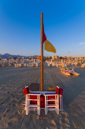 viareggio: Deckchairs on the beach at Viareggio, Tuscan Riviera, Tuscany, Italy Stock Photo