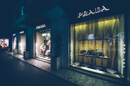 prada: MILANO,ITALY-NOV.09: window shop of Prada  in Milan,Italy on the 09th november 2011.Prada is a major global brand, selling fashion and luxury items. It was founded in 1913 in Milan, Italy and now has stores in all major world cities. Turnover in 2010 was