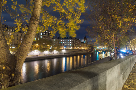 nightview: Nightview of Seine river in paris