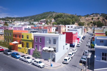 CAPE TOWN, SOUTH AFRICA - JAN 27: colored bo kaap neighborood depicted  on the first of february 2010 , cape town , south africa. Bo-Kaap formerly known as the Malay Quarter.The area is known for its romantic cobble stoned streets