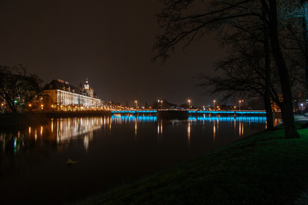 Evening view of University of Wroclaw, Odra River and the University Bridge in Wroclaw, Poland