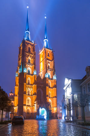 neogothic: The Cathedral of St. John the Baptist in Wroc?aw is located in the Ostrów Tumski district, is a Gothic church with Neo-Gothic additions.