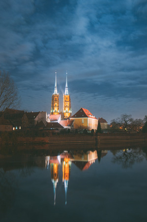 The Cathedral of St. John the Baptist in Wroc?aw, is the seat of the Roman Catholic Archdiocese of Wroc?aw and a landmark of the city of Wroc?aw in Poland. The cathedral, located in the Ostr�w Tumski district, is a Gothic church with Neo-Gothic additions. Stock Photo