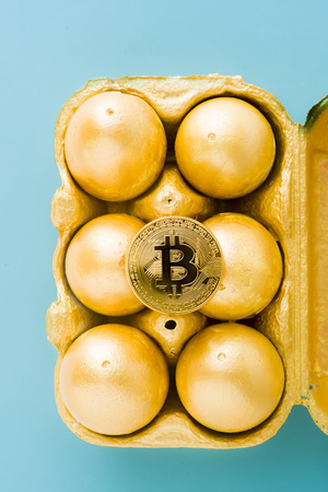 One old aesopus story  tells about the chick who  makes the golden egg, in this case she makes bitcoin, conceptual composition for bitcoin and new economy, bitcoin over a package of golden eggs, blue.
