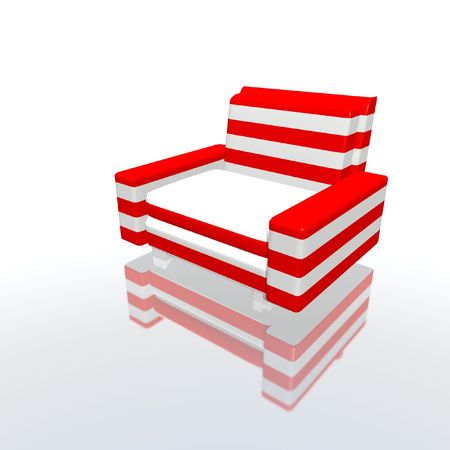 scores: red and white armchair Stock Photo