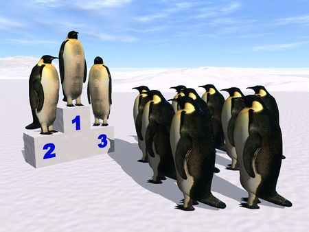 penguins on a podium Stock Photo