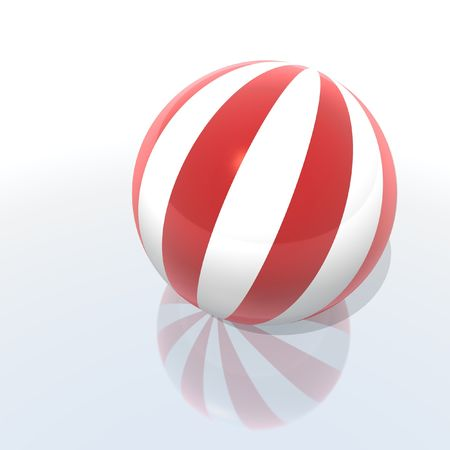 scores: beach ball with red and white slices Stock Photo